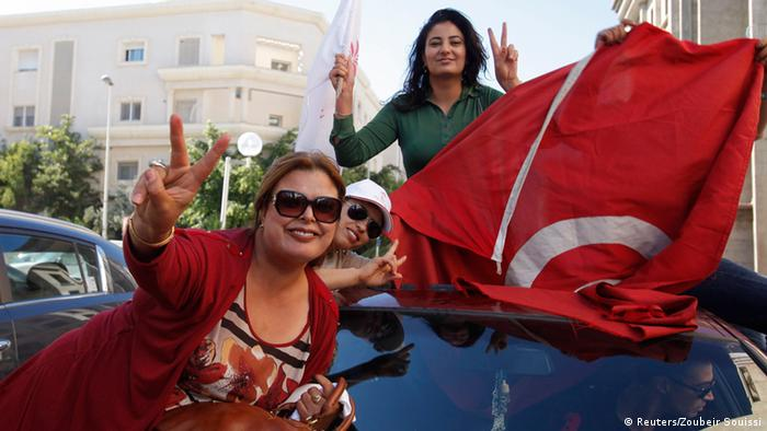 Parlamentswahl in Tunesien Anhänger der Nidaa Tounes Partei 28.10.2014