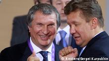 Gazprom hilft Rosneft Igor Setschin und Alexej Miller Archivbild 2012