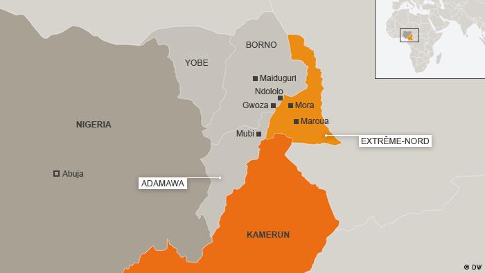 Karte: Einzugsgebiete von Boko Haram im Norden und Osten Nigerias