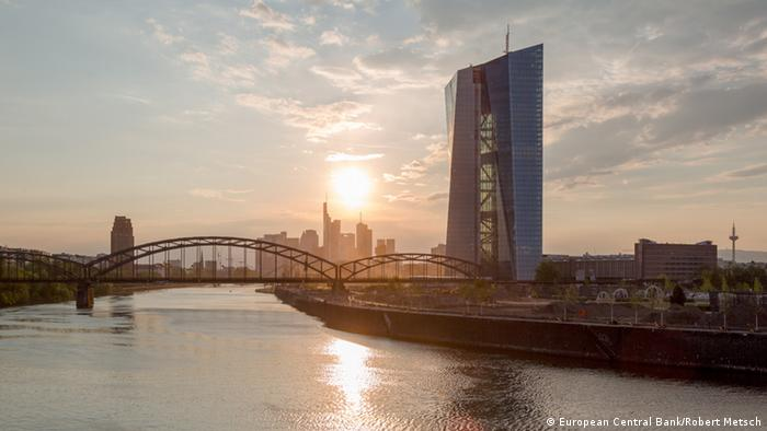 The newly constructed ECB building under a setting sun