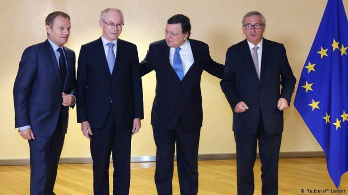 Tusk, van Rompuy, Barroso und Juncker in Brüssel