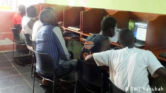 Social Media in Liberia Internet cafe