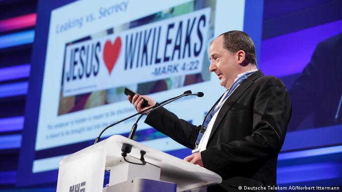 Ex Chaos Computer Club Sprecher Andy Mueller-Maguhn auf der Konferenz für IT-Sicherheit in Bonn. (Copyright: Telekom)