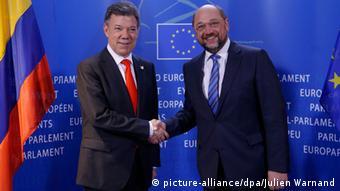 Kolumbianischer Präsident Santos mit dem Präsidenten des Europäischen Parlamentes Schulz
