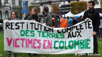 Brüssel Demonstration gegen Besuch des kolumbianischen Präsidenten Santos