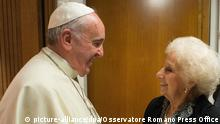 epa04477828 A handout photograph released by the Vatican press office shows Pope Francis meeting with Estela de Carlotto (C) Argentine human rights activist and leader of the Grandmothers of the Plaza de Mayo, (Grandmothers of Mayo square), at the Vatican, 05 November 2014. Grandmothers of the Plaza de Mayo is human rights organization with the goal of finding the children stolen and illegally adopted during the Argentine Dirty War. EPA/OSSERVATORE ROMANO PRESS OFFICE HANDOUT EDITORIAL USE ONLY/NO SALES
