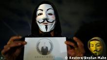Frankreich Nantes Anonymous Proteste Guy Fawkes Maske