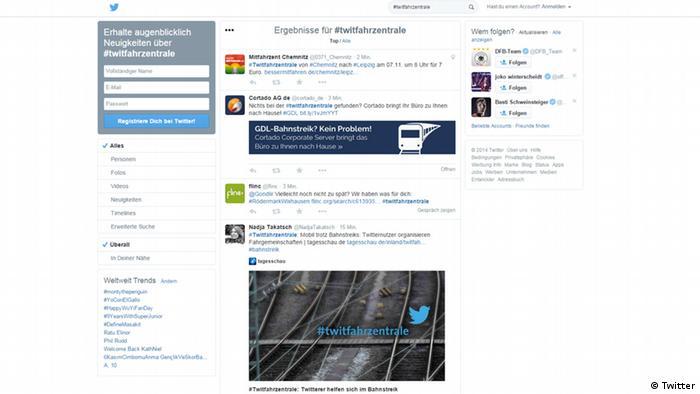 Screenshot Twitter #twitfahrzentrale Antwort auf GDL Streik