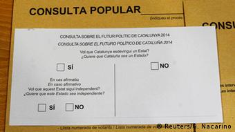 Ballot for the Catalan independence poll. (Photo: REUTERS/Gustau Nacarino)