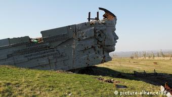 Ukraine : destroyed monument Saur-Mogila