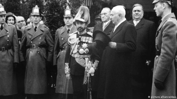 Archive photo showing Emperor Haile Selassie in Bonn 1954 with German politicians