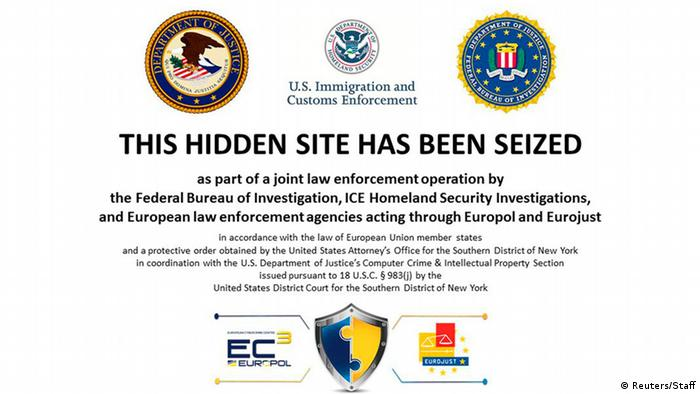 Screenshot Webseite Silk Road 2.0 nach Schließung (Foto: Reuters)