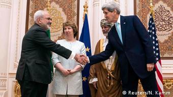 Treffen der Außenminhister/-beauftragten Sarif, Ashton, Bin Alawi und Kerry in Maskat 09.11.2014 (Foto: Reuters)