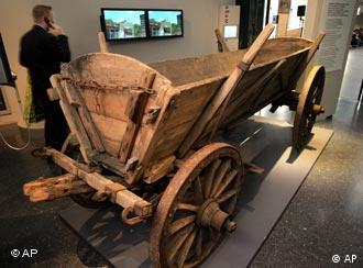 A wooden cart used by refugees displayed at an exhibition in Bonn in 2005
