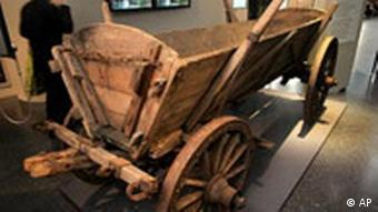 A wooden cart used by expellees as part of a museum exhibit in Bonn