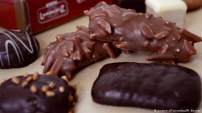 Various chocolate covered Christmas biscuits