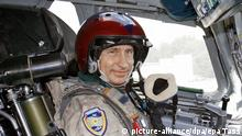 Russian President and commander in chief Vladimir Putin sits on a pilot's seat inside the Tu-160 strategic bomber jet at the Moscow's Chkalovsky military airport, Tuesday 16 August 2005. Vladimir Putin has flown to the area of exercises for the national strategic air force and Northern Fleet aboard a Tu-160 strategic bomber. EPA/PRESIDENTIAL PRESS SERVICE/ITAR-TASS POOL POOL