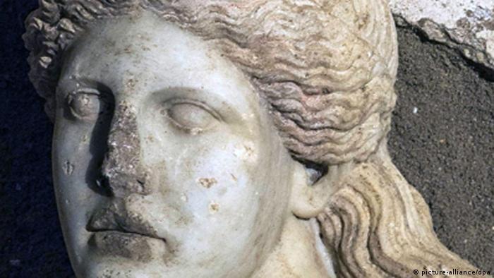 Griechenland Archäologie Antike Marmor Kopf Fund bei Hügel Kasta in der Nähe von Amphipolis