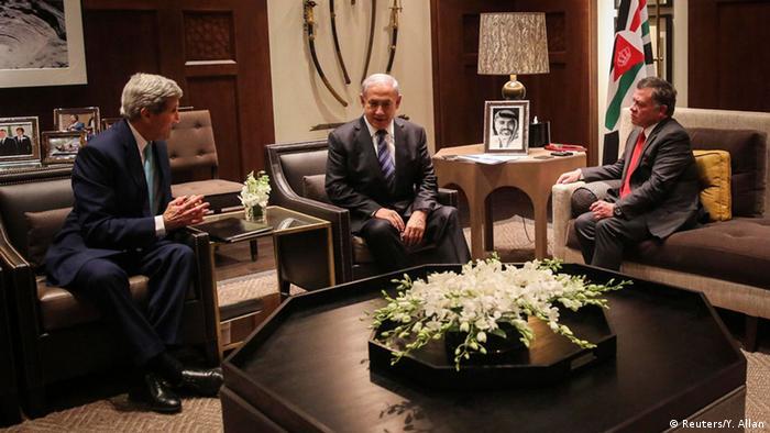 John Kerry trifft König Abdullah von Jordanien und Benjamin Netanjahu (Reuters/Y. Allan)