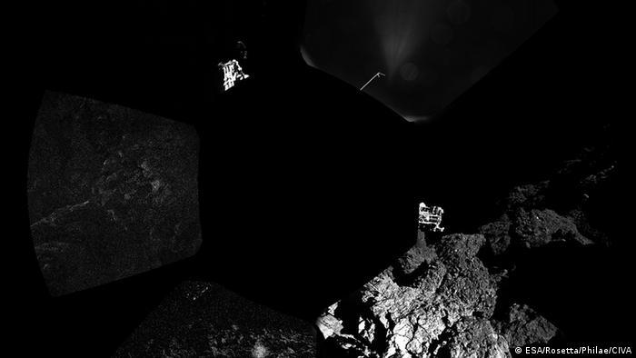 Bild von dem Tschurjumow-Gerassimenko Komet aufgenommen vom Lander Philae. (Foto: ESA)