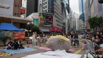 Szenen aus den Protestcamps in Hongkong