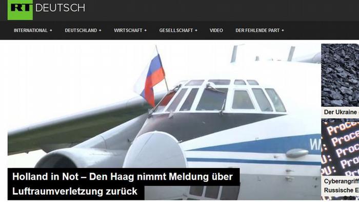 Screenshot der RT Deutsch Webseite