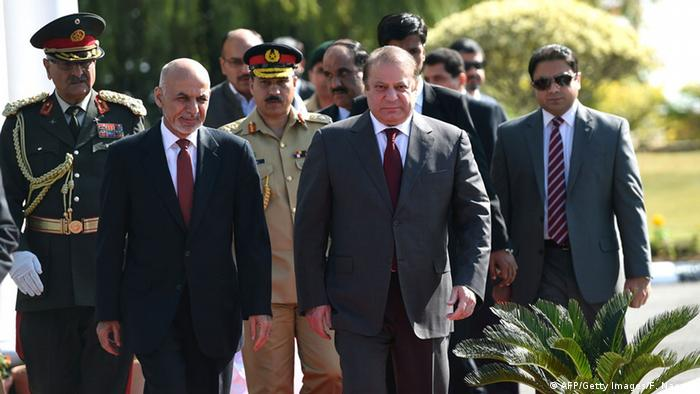 Afghan President Ashraf Ghani (2L) and Pakistani Prime Minister Nawaz Sharif (3R) arrive for a ceremony at the Prime Minister House in Islamabad on November 15, 2014 (Photo: FAROOQ NAEEM/AFP/Getty Images)