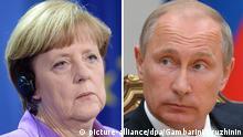 Angela Merkel und Wladimir Putin Kombobild