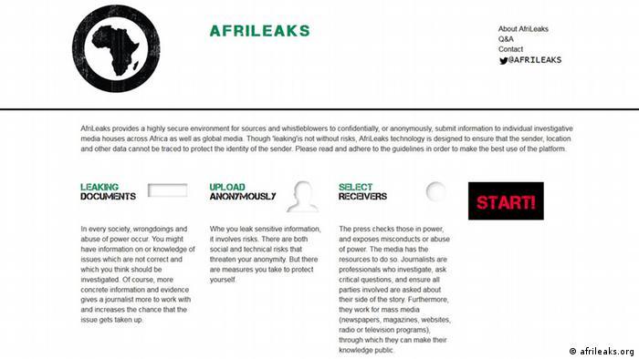 A screenshot of AfriLeaks