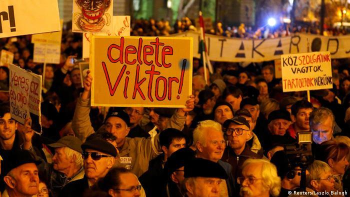 Ungarn Budapest Demonstration 17.11.2014