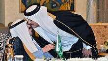 Saudi-Arabien König Abdullah und Scheich Tamim bin Hamad Al Thani Treffen in Riad 16.11.2014