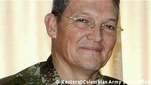 General Ruben Dario Alzate, who heads the Titan task force in the western department of Choco, in an undated handout photo released November 17, 2014. Colombia's peace talks with Marxist FARC rebels were in crisis on Monday as troops scoured a Pacific coast region for Alzate who was kidnapped over the weekend in a brash move by guerrillas that endangers efforts to end 50 years of war. REUTERS/Colombian Army press office/Handout via Reuters (COLOMBIA - Tags: POLITICS CIVIL UNREST CRIME LAW MILITARY) ATTENTION EDITORS - THIS PICTURE WAS PROVIDED BY A THIRD PARTY. REUTERS IS UNABLE TO INDEPENDENTLY VERIFY THE AUTHENTICITY, CONTENT, LOCATION OR DATE OF THIS IMAGE. FOR EDITORIAL USE ONLY. NOT FOR SALE FOR MARKETING OR ADVERTISING CAMPAIGNS. THIS PICTURE IS DISTRIBUTED EXACTLY AS RECEIVED BY REUTERS, AS A SERVICE TO CLIENTS