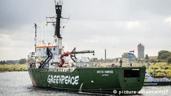 Greenpeace ice breaker 'Arctic Sunrise' sails in IJmuiden, The Netherlands.