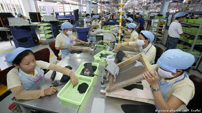 Vietnamese workers at an Adidas shoe factory in Ho Chi Minh City