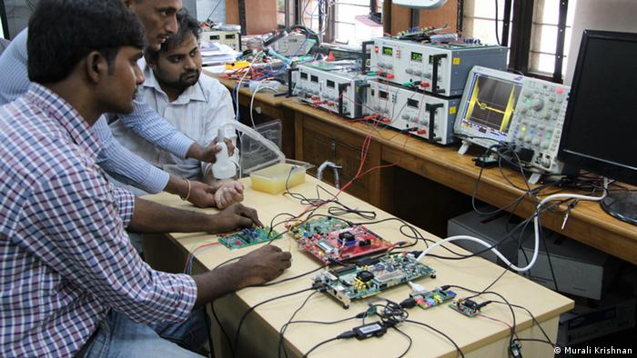Students building a new ultrasound prototype in India