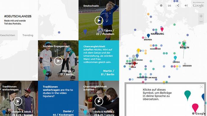 Screenshot des Google Projekts #Deutschland 25; auf der rechten Seite ist eine Weltkarte mit Pins auf verschiedenen Städten und auf der linken Seite sind Fotos der Porträtierten und Kommentare von Usern