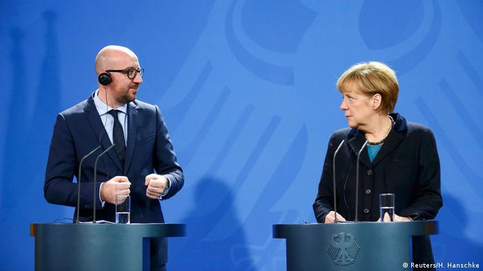 آنگلام مرکل، صدراعظم آلمان در دیدار با چارلز میشل، نخست وزیر بلژیک در برلین.