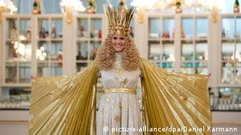 A woman dressed as an angel to represent the Christ Child at the Nuremberg Christmas market