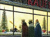 Die Heiligen Drei Könige vor einem Schaufenster