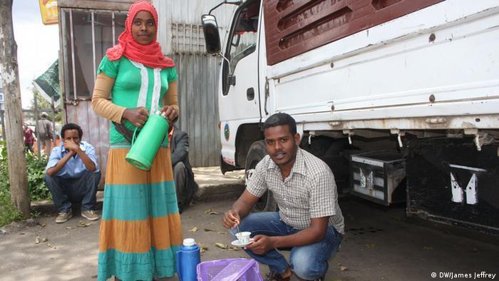 Äthiopien Addis Abeba Kaffee Wirtschaft Mobiles Café