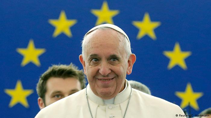 Pope Francis at the European Parliament in Strasbourg, France