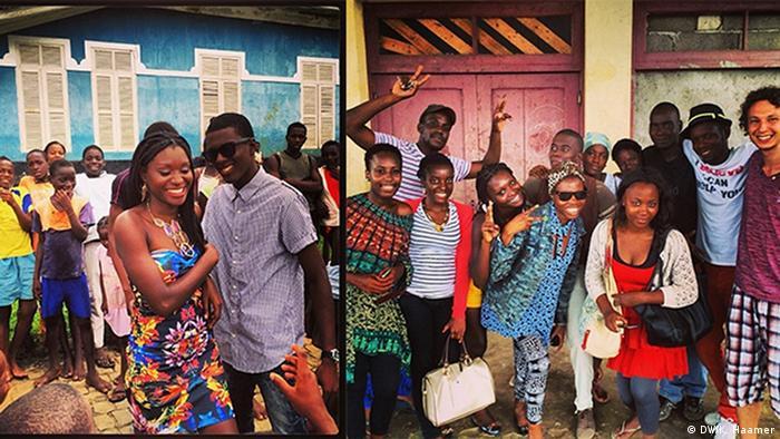 À esquerda, atores reunidos em Angolares, em janeiro de 2014; à direita, equipe na Quinta de Santo António em dezembro de 2013