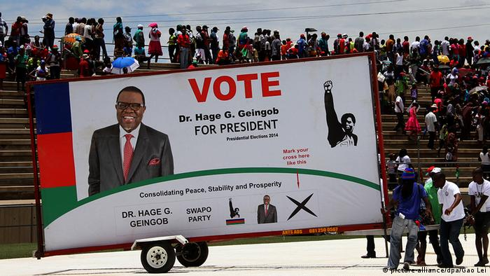 Election campaign in Namibia. A poster written vote for Dr. Hage Geingob