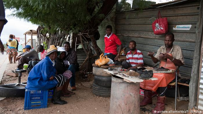 Namibia market place with traders sitting around