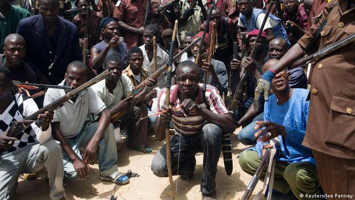 Nigeria traditional hunters against Boko Haram fighters (Photograph: Joe Penney/Reuters)