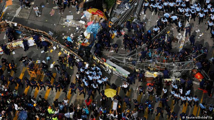 Hongkong Räumung nach Protest 26.11.2014