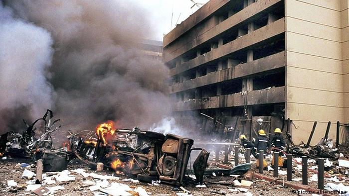 Debris in front of the US embassy in Nairobi after the 1998 bombing