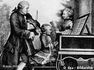 Wolfgang Amadeus tocando piano em 1763