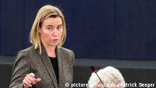 epa04504652 High Representative of the EU for Foreign Affairs and Security Policy Federica Mogherini (L) delivers her speech about the Recognition of Palestine statehood at the European Parliament in Strasbourg, France, 26 November 2014. Three EU nations - Poland, Hungary and Slovakia - recognized the Palestinian state before joining the EU, Sweden did so on 30 October. The parliaments of both Spain and Britain have passed resolutions in favour of recognition. EPA/PATRICK SEEGER