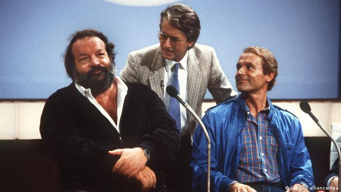 Bud Spencer on 'Wetten, dass...?' with Frank Elstner in 1983, Copyright: picture-alliance/dpa